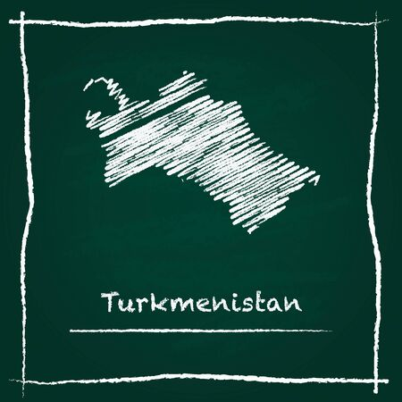 Turkmenistan outline vector map hand drawn with chalk on a green blackboard. Chalkboard scribble in childish style. White chalk texture on green background.