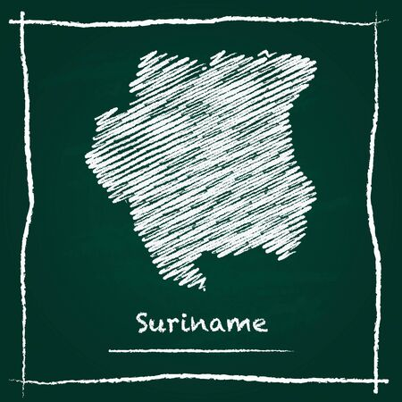 Suriname outline vector map hand drawn with chalk on a green blackboard. Chalkboard scribble in childish style. White chalk texture on green background.