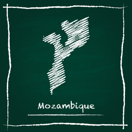 Mozambique outline vector map hand drawn with chalk on a green blackboard. Chalkboard scribble in childish style. White chalk texture on green background.