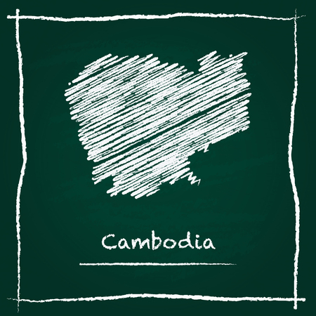 Cambodia outline vector map hand drawn with chalk on a green blackboard. Chalkboard scribble in childish style. White chalk texture on green background.