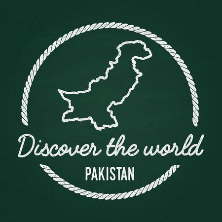 Pakistan map vintage stamp  Retro style handmade label