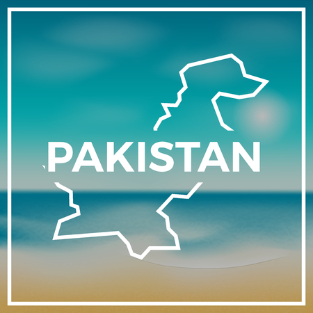 Pakistan map rough outline against the backdrop of beach and
