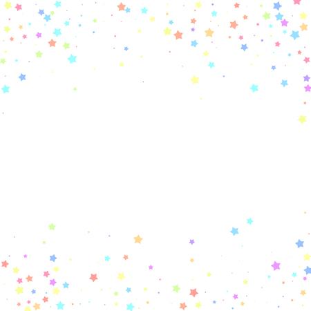 Illustration for Festive confetti. Celebration stars. Colorful stars random on white background. Charming festive overlay template. Fresh vector illustration. - Royalty Free Image