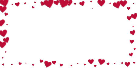 Red heart love confettis. Valentine\'s day frame incredible background. Falling stitched paper hearts confetti on white background. Energetic vector illustration.