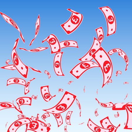British pound notes falling. Random GBP bills on blue sky background. United Kingdom money. Attractive vector illustration. Exceptional jackpot, wealth or success concept.