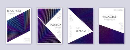 Illustration pour Triangle brochure design template set. Rainbow abstract lines on dark blue background. Breathtaking brochure design. Fine catalog, poster, book template etc. - image libre de droit