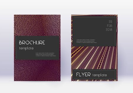 Illustration pour Black cover design template set. Gold abstract lines on maroon background. Alluring cover design. Energetic catalog, poster, book template etc. - image libre de droit