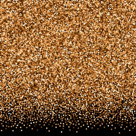 Illustration for Red round gold glitter luxury sparkling confetti. Scattered small gold particles on black background. Amazing festive overlay template. Eminent vector illustration. - Royalty Free Image