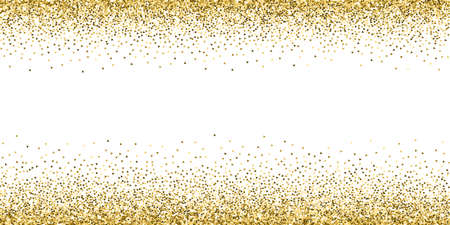 Illustration for Gold triangles glitter luxury sparkling confetti. Scattered small gold particles on white background. Artistic festive overlay template. Rare vector illustration. - Royalty Free Image