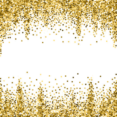 Illustration for Gold glitter luxury sparkling confetti. Scattered small gold particles on white background. Adorable festive overlay template. Worthy vector illustration. - Royalty Free Image