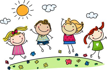Illustration pour jumping happy kids - image libre de droit