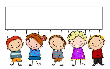 Illustration pour sketch kids with banner - image libre de droit