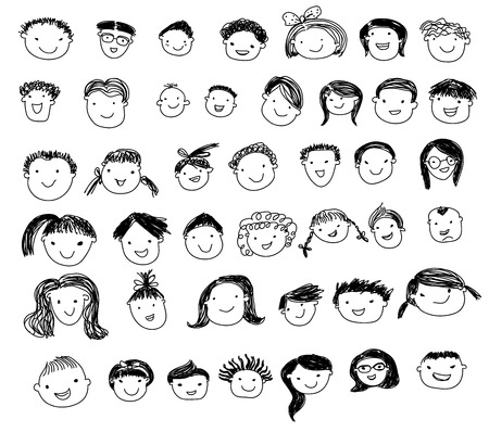 Illustration for Group of sketch people face set - Royalty Free Image