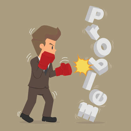 Student businessman to fight against the problem. vector