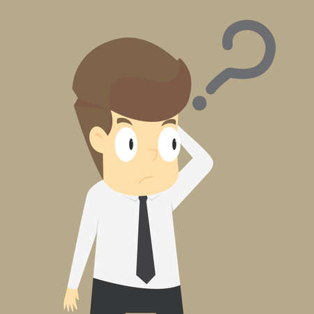 Businessman confused with the question, the problem exists. vector