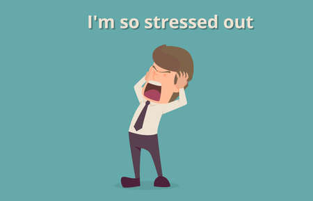 Ilustración de Businessman strain very headache on office table work hard, a cartoon illustration of business success  concept, can be used as background of infographic banner. - Imagen libre de derechos