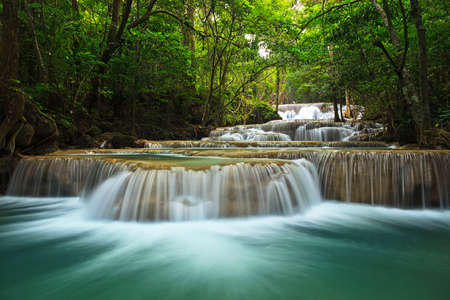Photo for waterfall in thai national park. In the deep forest on mountain. - Royalty Free Image