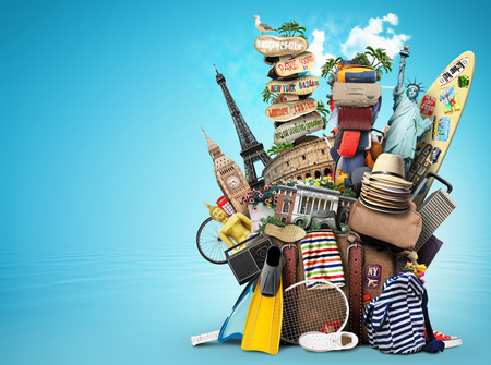 Photo pour Luggage, goods for holidays, leisure and travel - image libre de droit
