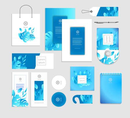 Illustration pour Corporate identity. Tropical leaves luxury concept. - image libre de droit