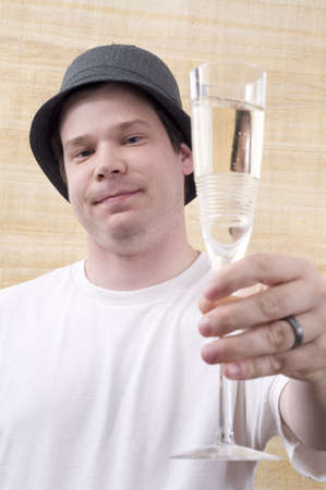 Male Toasting with Champagne