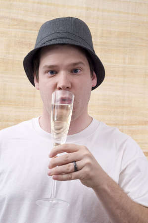 Male Drinking Champagne