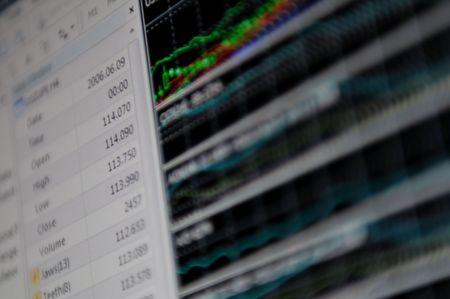 stock market graph on big lcd display closeup macro