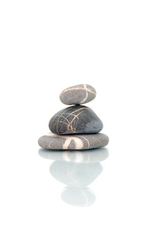 isolated  zen stones on white