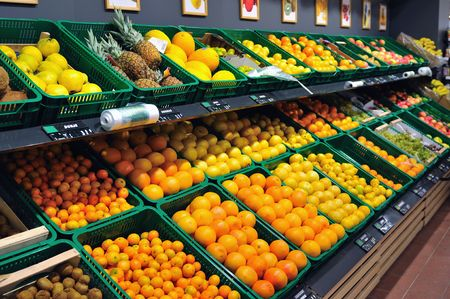 fresh fruits ready to buy in supermarket