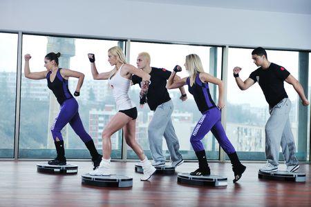 Foto de young healthy people group exercise fitness and get fit - Imagen libre de derechos