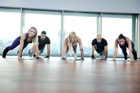 Photo for young healthy people group exercise fitness and get fit - Royalty Free Image