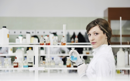 science chemistry classes with young student woman in labaratory