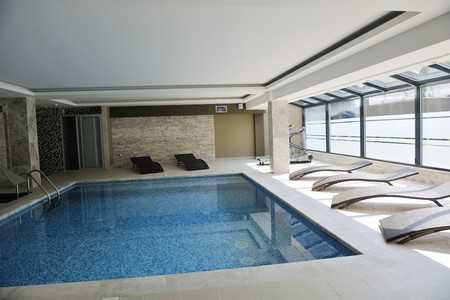 luxuriy swimming pool indoor at wellness and spa center