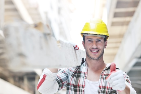 Photo for handsome hard worker people portrait at concstruction site - Royalty Free Image