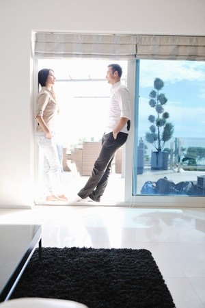 Photo for happy young couple relax at modern home living room indoor - Royalty Free Image