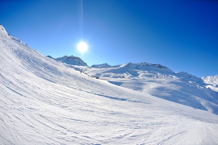 High mountains under fresh snow in the winter  season