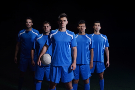 soccer players team group isolated on black background