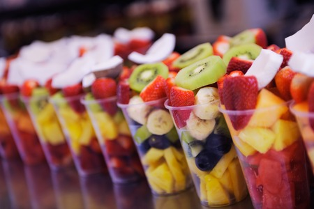 fruit salad to go on street in the city
