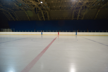 empty ice rink, hockey and skating arena  indoors