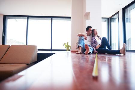 Photo pour happy young romantic couple at new modern  home interior renovation - image libre de droit