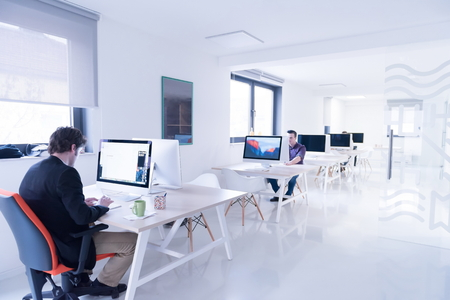 Photo pour startup business, software developer working on computer at modern office - image libre de droit