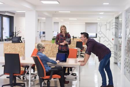 Photo pour portrait of creative business people group in modern startup office interior - image libre de droit