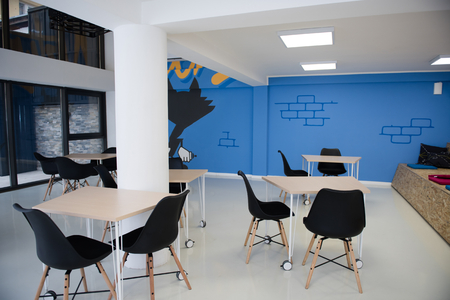 startup business office interior details, bright modern working space