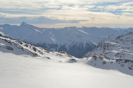 Foto de winter mountains beautiful alpine panoramic view of fresh snow capped French alps - Imagen libre de derechos