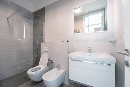 Photo for luxury stylish bathroom interior with toilet,bidet sink and spacious glass shower cabin  fancy shower on the wall - Royalty Free Image