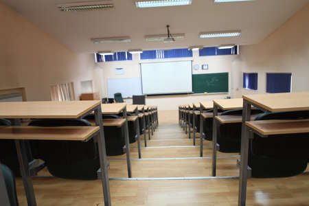Photo pour empty classroom university or collage back to school concept in coronavirus pandemic time - image libre de droit