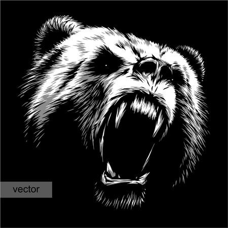 Illustration pour engrave isolated bear vector illustration sketch. linear art - image libre de droit