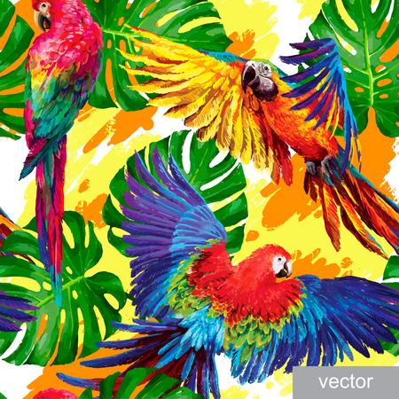 Ilustración de Seamless summer pattern with tropical parrots and monstera leafs. Exotic textile. Vector. - Imagen libre de derechos