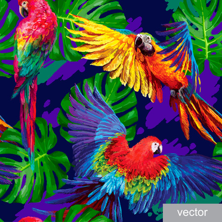 Illustration pour Seamless summer pattern with tropical parrots and monstera leafs. Exotic textile. Vector. - image libre de droit
