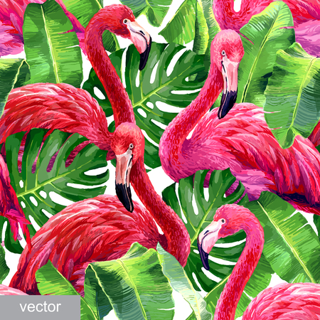 Foto de Pink flamingo, monstera leafs, palm leaf. Seamless tropical summer pattern. Exotic textile. Vector - Imagen libre de derechos