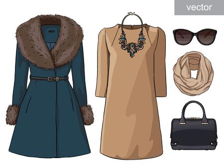 Lady Fashion Set Of Autumn Winter Season Outfit